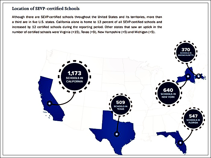 location by state and numbers f1schools approved by sevis
